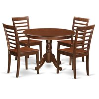 Dining Set - One Round Table & 4 Chairs with Wood Seat, Mahogany - 5 Piece - 42 in.