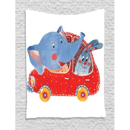 Cartoon Decor Wall Hanging Tapestry, Watercolor Sketch Of Young Blushed Elephant And Hare In Small Car Best Friend Travel, Bedroom Living Room Dorm Accessories, By