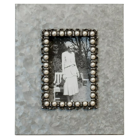 American Mercantile Metal And Pearls Picture - Pearl Frame Clutch
