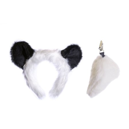 Wildlife Tree Plush Panda Ears Headband and Tail Set for Panda Costume, Cosplay, Pretend Animal Play or Safari Party Costumes](Panda Ears)