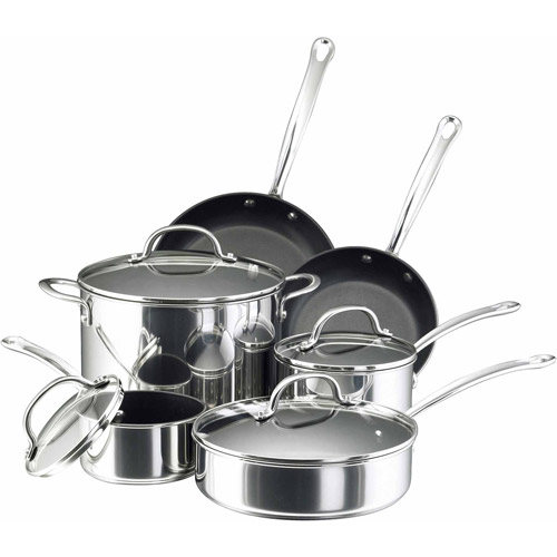 Farberware Millennium Stainless Steel Cookware 10-Piece Set, Stainless Steel