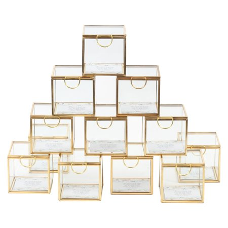 Bulk Wholesale (Koyal Wholesale Gold Display Glass Boxes with Hinged Lids, Bulk Set of 12 for Wedding Escort Cards, 3 Inch Party)