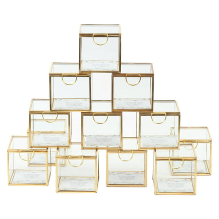 Koyal Wholesale Gold Display Glass Boxes with Hinged Lids, Bulk Set of 12 for Wedding Escort Cards, 3 Inch Party Favors (Card Boxes For Weddings)