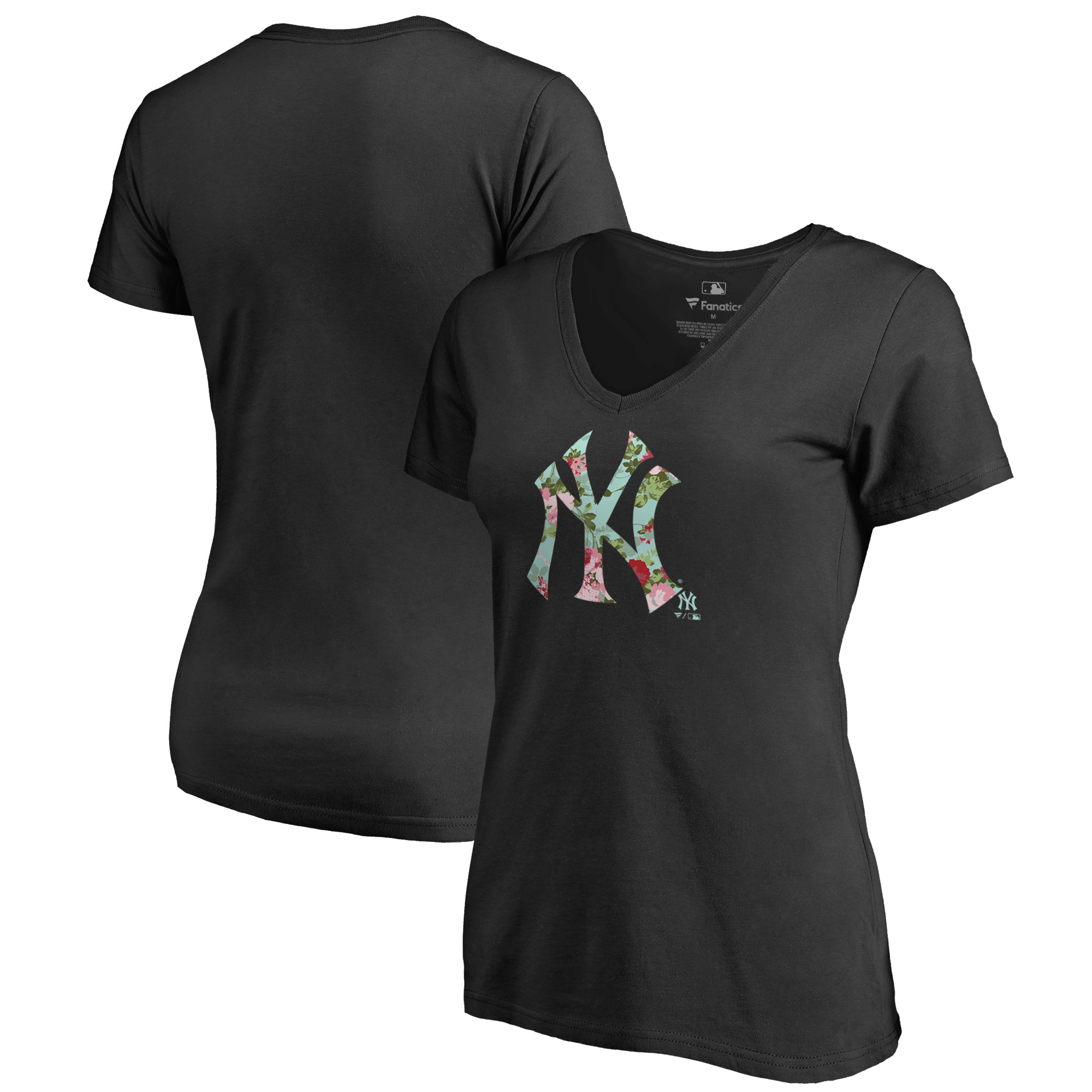 New York Yankees Fanatics Branded Women's Lovely V-Neck T-Shirt - Black