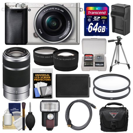 Sony Alpha A6000 Wi Fi Digital Camera   16 50Mm Lens  Silver  With 55 210Mm Lens   64Gb Card   Case   Flash   Battery Charger   Tripod Kit