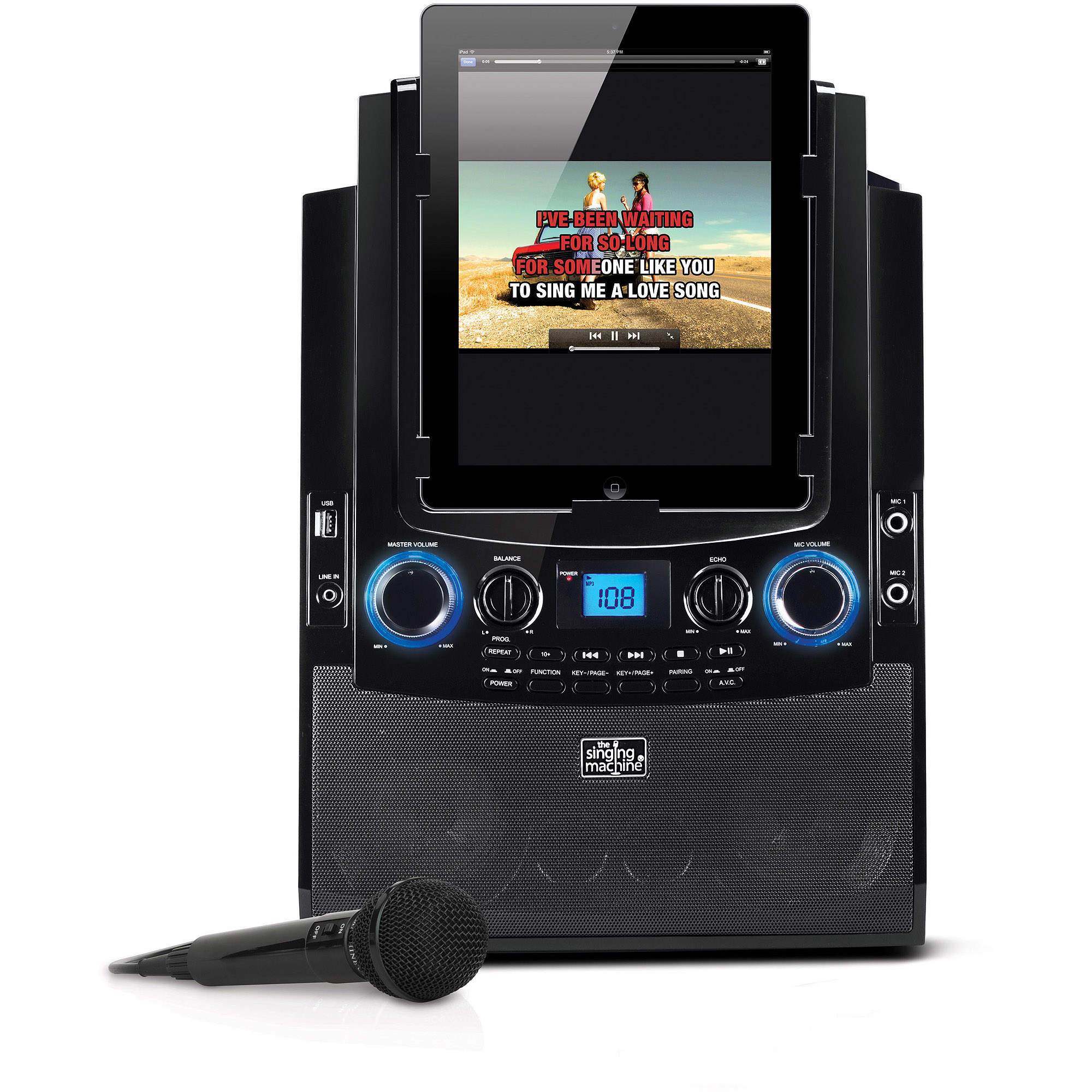 Singing Machine Bluetooth Mobile Karaoke System with Resting Tablet Cradle, Microphone, and
