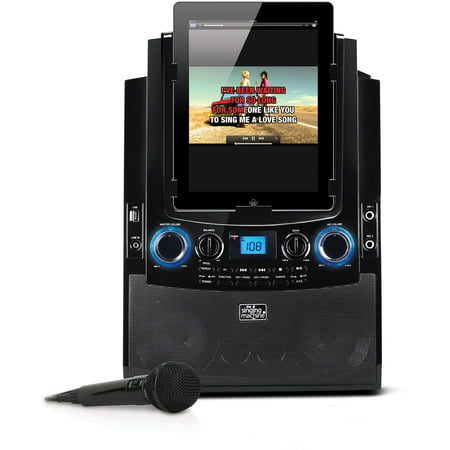 Singing Machine Bluetooth Mobile Karaoke System With Resting Tablet Cradle  Microphone  And Free Karaoke App