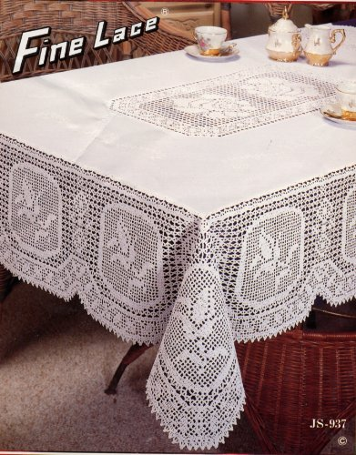 Tablecloths, Vinyl, Fine Lace, Crochet And Floral Design, White (60x90  Inches