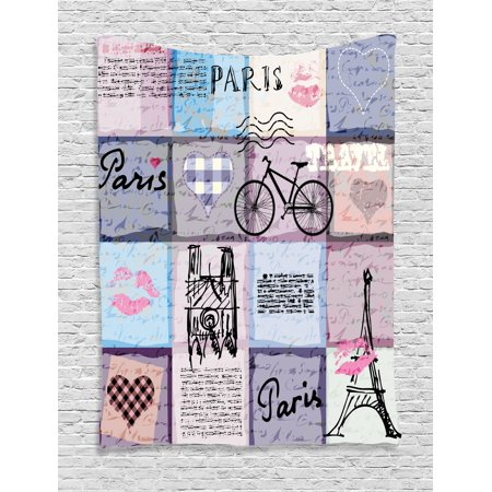 Paris Tapestry, Grunge Textured Retro Collage of Paris with Famous Object Eiffel Tower Europe Theme, Wall Hanging for Bedroom Living Room Dorm Decor, Multicolor, by Ambesonne](Paris Themed Decor Accessories)