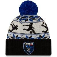San Jose Earthquakes New Era Ugly Sweater Cuffed Knit Hat with Pom - Black - OSFA