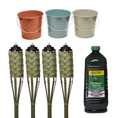 TIKI® Brand 57-Inch Bamboo Torch Natural 4-pack and 17 oz. Wax Bucket Seaside Escape Assorted Colors Ivory, Coral or Blue 3-pack and TIKI® Brand 100 oz. Bitefighter Fuel - Tiki Torch Stand