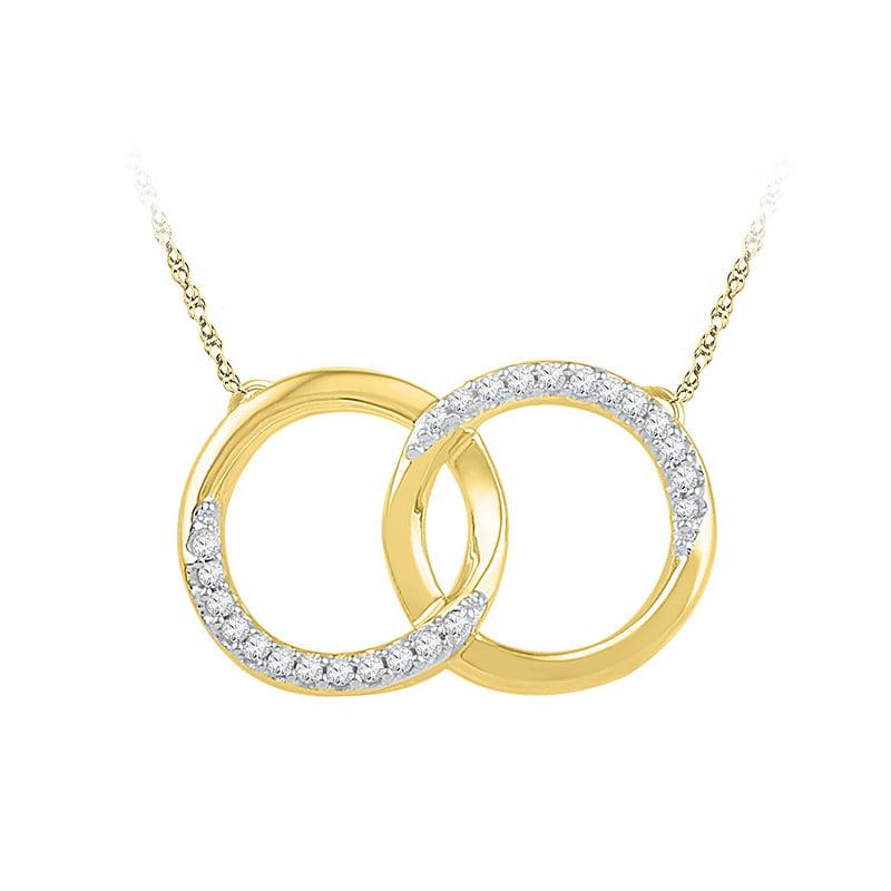 10K Yellow Gold 0.10ctw Shiny Pave Diamond Interlock Circle Pendant Necklace
