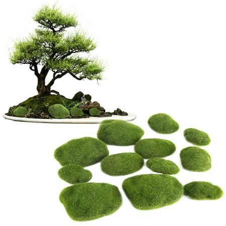 Qiilu 12Pcs Green Artificial Moss Stones Simulation Grass Bryophyte Bonsai Garden DIY Landscape Decor, Simulation Moss, Artificial Moss Stone - image 4 of 8
