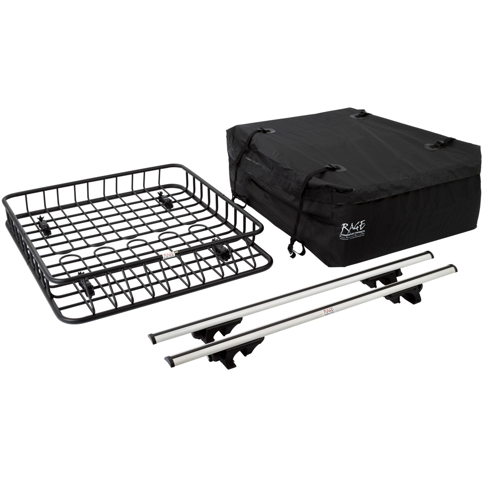 3pc Roof Rack Cargo Kit with Roof Basket, Load Bars & Storage Bag (Bundle)
