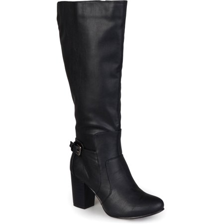 Wide Calf Buckle Detail High Heeled Boots