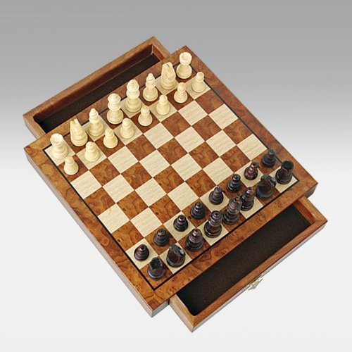 Magnetic Walnut Travel Chess Set with Drawers by Wood Expressions