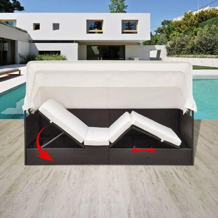 Yosoo Outdoor Sofa with Canopy Poly Rattan Brown