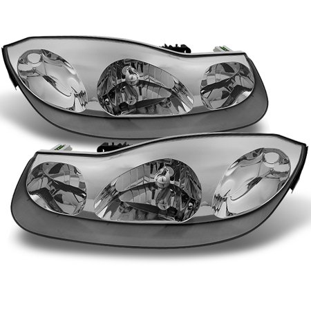 - Fit 01-02 Saturn S Series SC1 SC2 Coupe Chrome Clear Headlights Replacement Pair