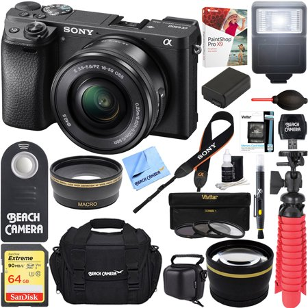 Long Zoom Power Lens (Sony ILCE-6500 a6500 4K Mirrorless Camera (Black) w/ 16-50mm Power Zoom Lens + 32GB Accessory Bundle + DSLR Photo Bag + Extra Battery + Wide Angle Lens+2x Telephoto Lens + Flash + Remote + Tripod )