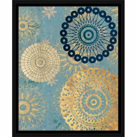 - Abstract Medallion Party Textured Painting Blue & Tan, Framed Canvas Art by Pied Piper Creative
