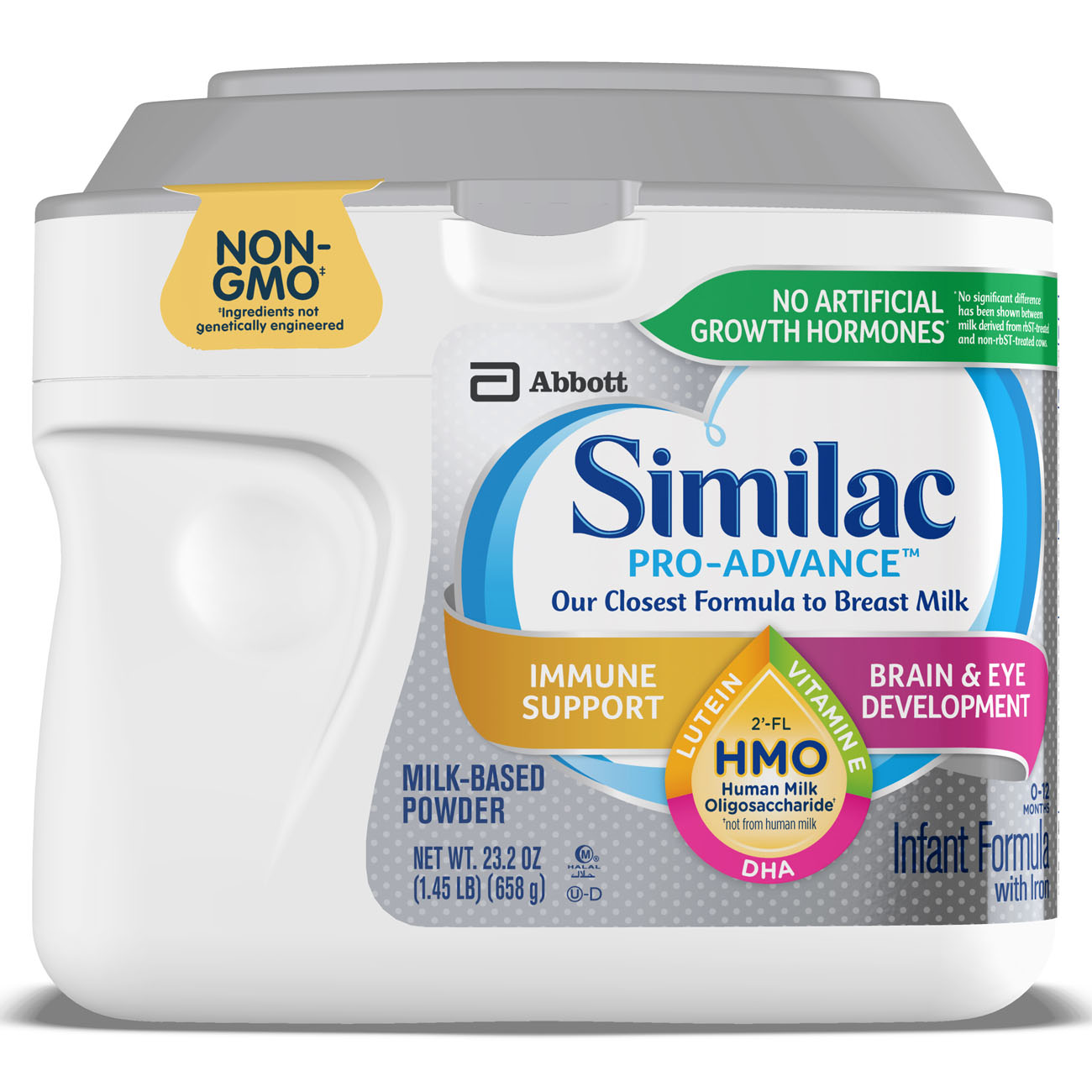 Similac Pro-Advance Non-GMO with 2'-FL HMO Infant Formula with Iron for Immune Support, Baby Formula 23.2 oz Tubs (Pack of 4)