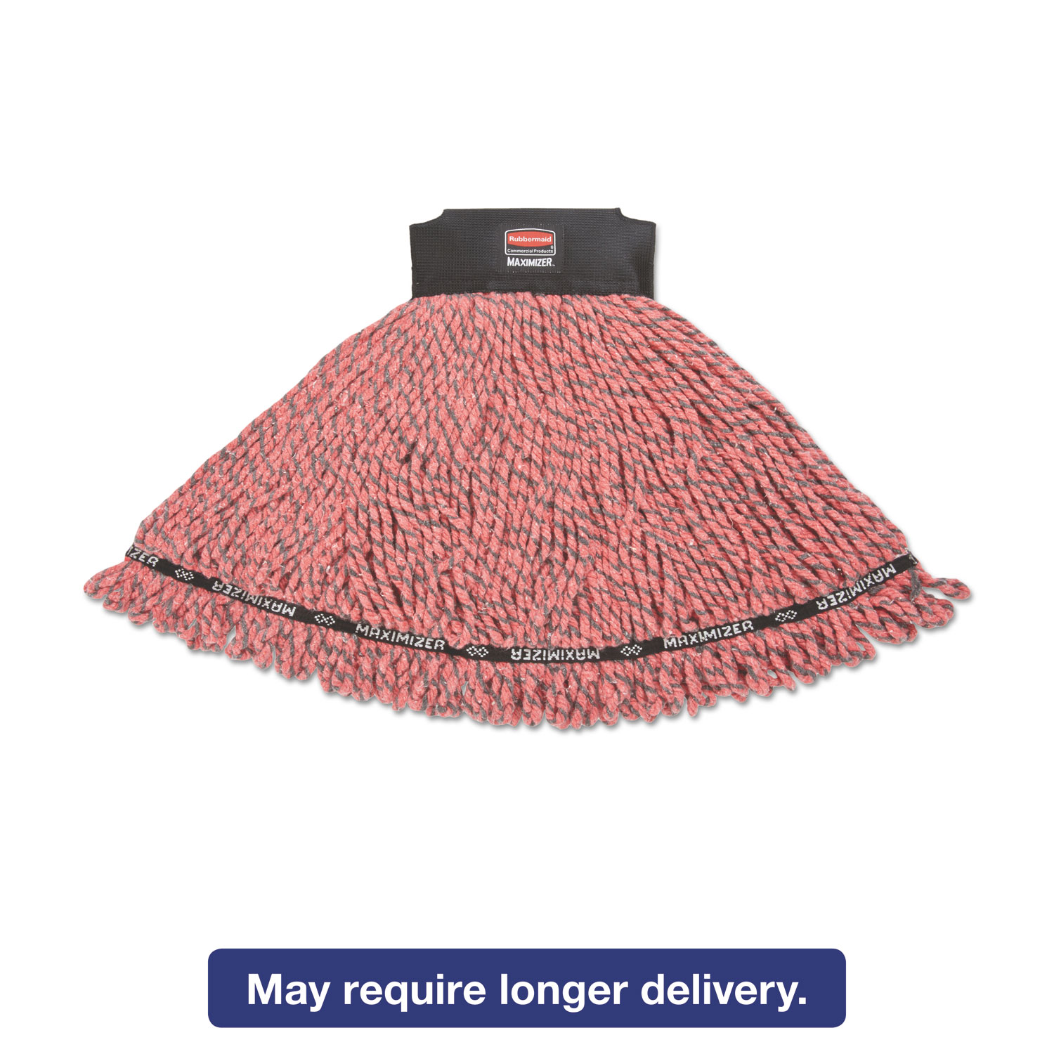Rubbermaid Commercial Maximizer Microfiber Large Red Mop Heads, 6 count