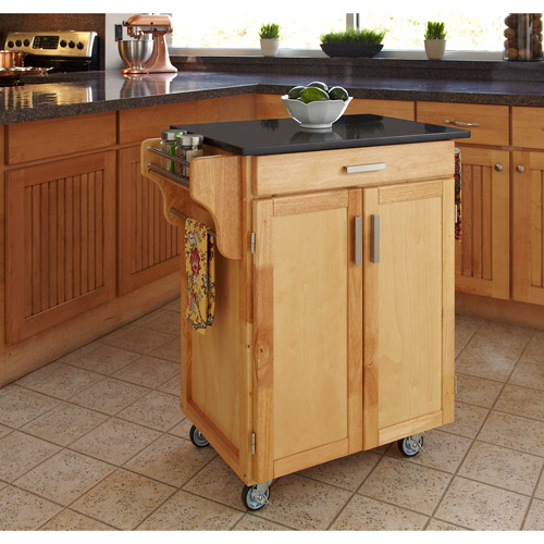 home styles kitchen cart, natural with black granite top - walmart