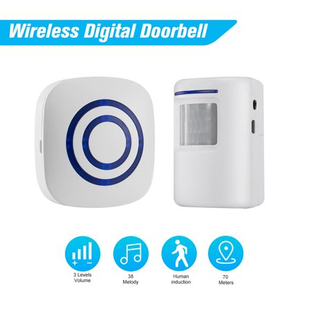 Wireless Digital Doorbell with 1*Transmitter 1*Receiver with PIR Sensor  Infrared Induction Alarm Welcome Guests Body Door Bell with 38 Songs