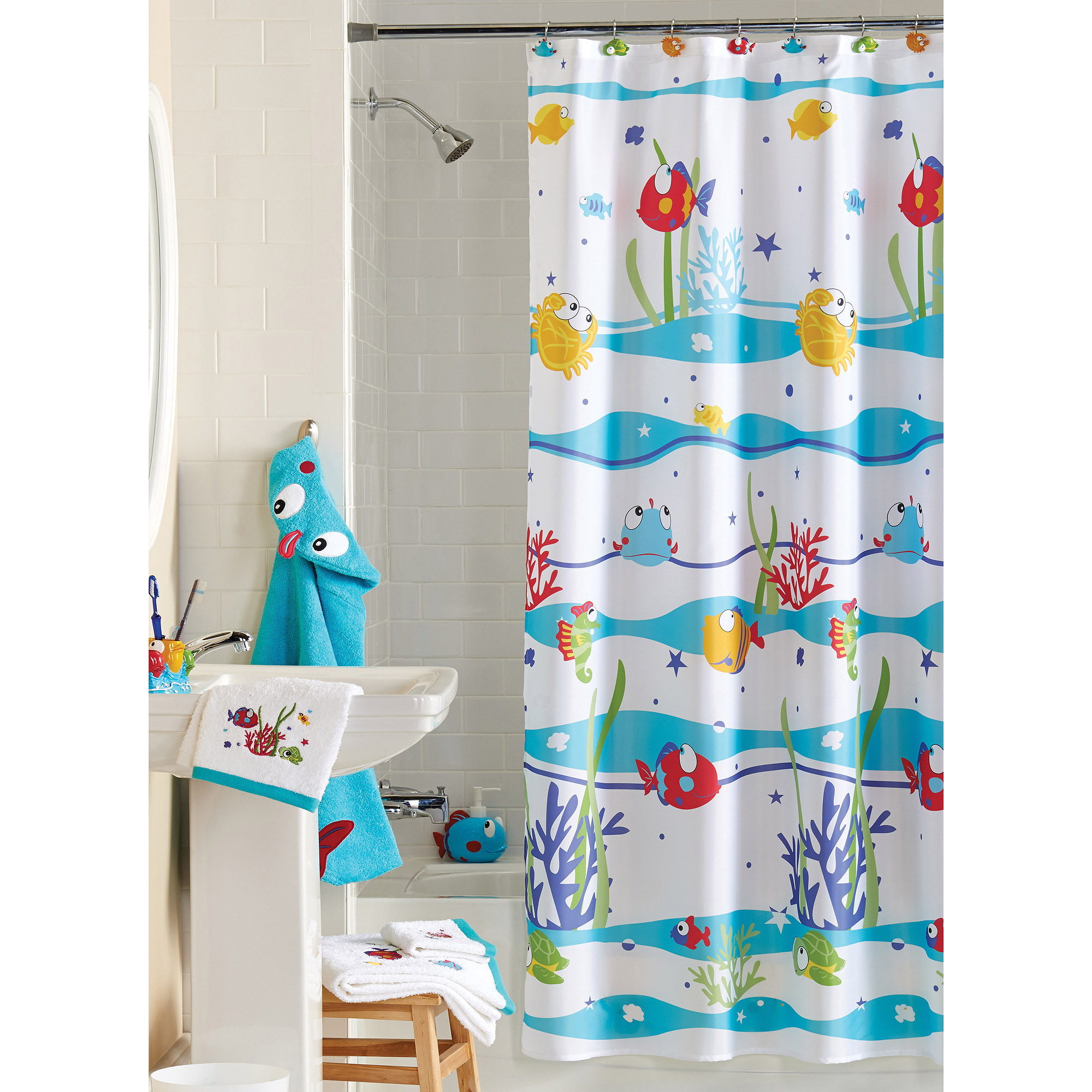 mainstays something's fishy shower curtain - walmart