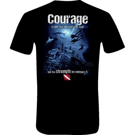 Amphibious Outfitters Scuba Diving T-Shirt - Courage - Black (Oversize Outfitters)