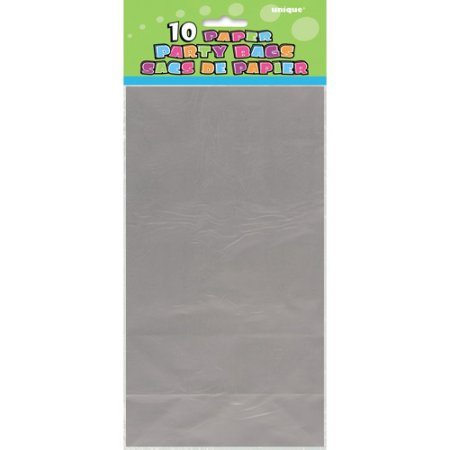 (4 Pack) Paper Luminary & Party Bags, 10 x 5 in, Metallic Silver, 10ct