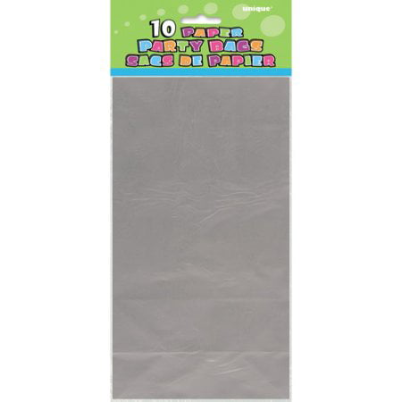 (4 Pack) Paper Luminary & Party Bags, 10 x 5 in, Metallic Silver, - Luminary Bag