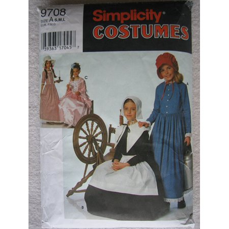 Costumes 9708 - Size A S,M,L Child's and Girl's Puritan, Centennial and 18th and 19th Century Costumes., By Simplicity From USA