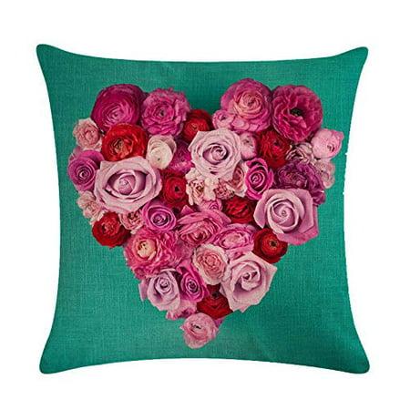 Sweetheart Roses Block - Tayyakoushi Rose Flower Pillow Cover 3D Decorative Rose Sweet Heart Valentine's Day Decorations Throw Pillow Home Decor Linen Pillowcase (Green)