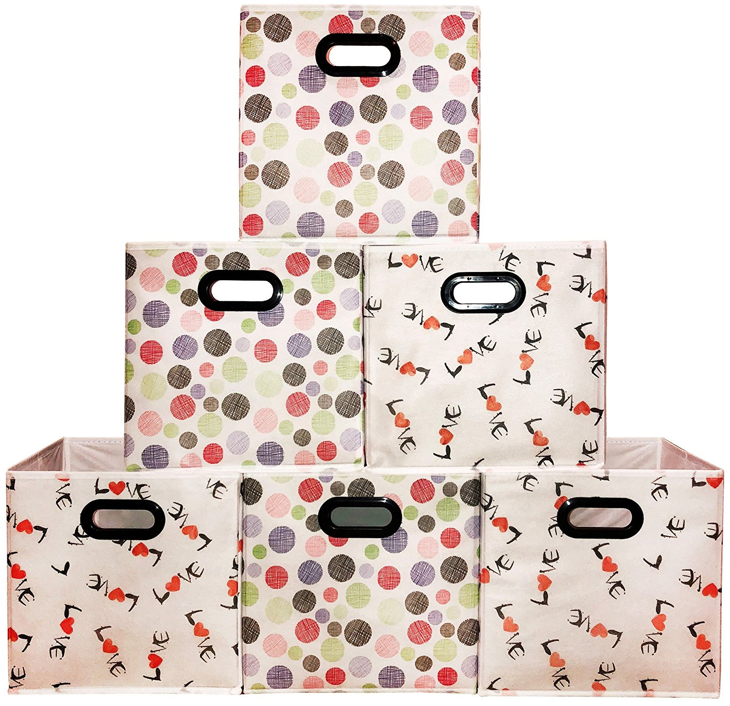 [6 Pack,Polka U0026 Love Pattern] Large Storage Bins, Containers, Boxes