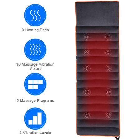 Costway Foldable Full Body Massage Mat 10 Vibrating Motors Therapy Relief Heating Pad