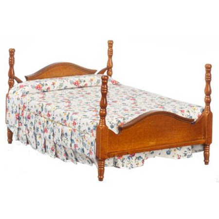 Dollhouse Double Bed, Walnut, Asst Fab/Cs