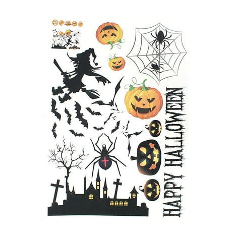 Unique Bargains Halloween Pumpkin Witch Moon Bat Pattern Wall Sticker Decal Home Decor