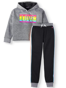 Limited Too Rainbow Love Fleece Hoodie and Side Stripe Jogger, 2-Piece Active Set (Little Girls & Big Girls)