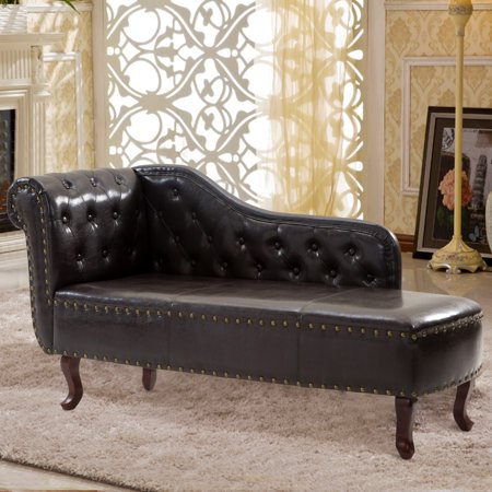 Cloud Mountain Tufted Faux Leather Chaise Lounge