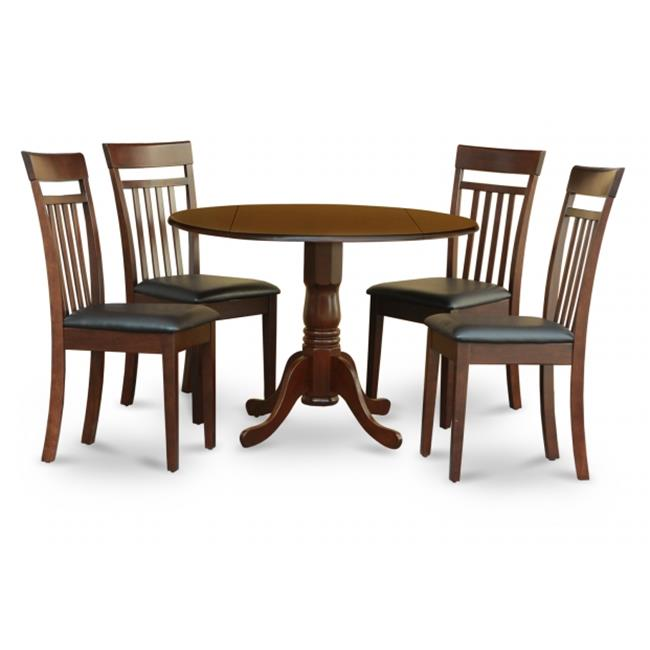 East West Furniture DLCA5-MAH-LC 5PC Kitchen Round Table with 2 Drop Leaves and 4 Slatted-back Chairs with Faux Leather Upholstered Seat