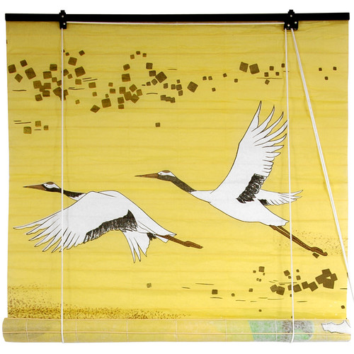 Oriental Furniture Cranes Shoji Rice Paper Roller Blind