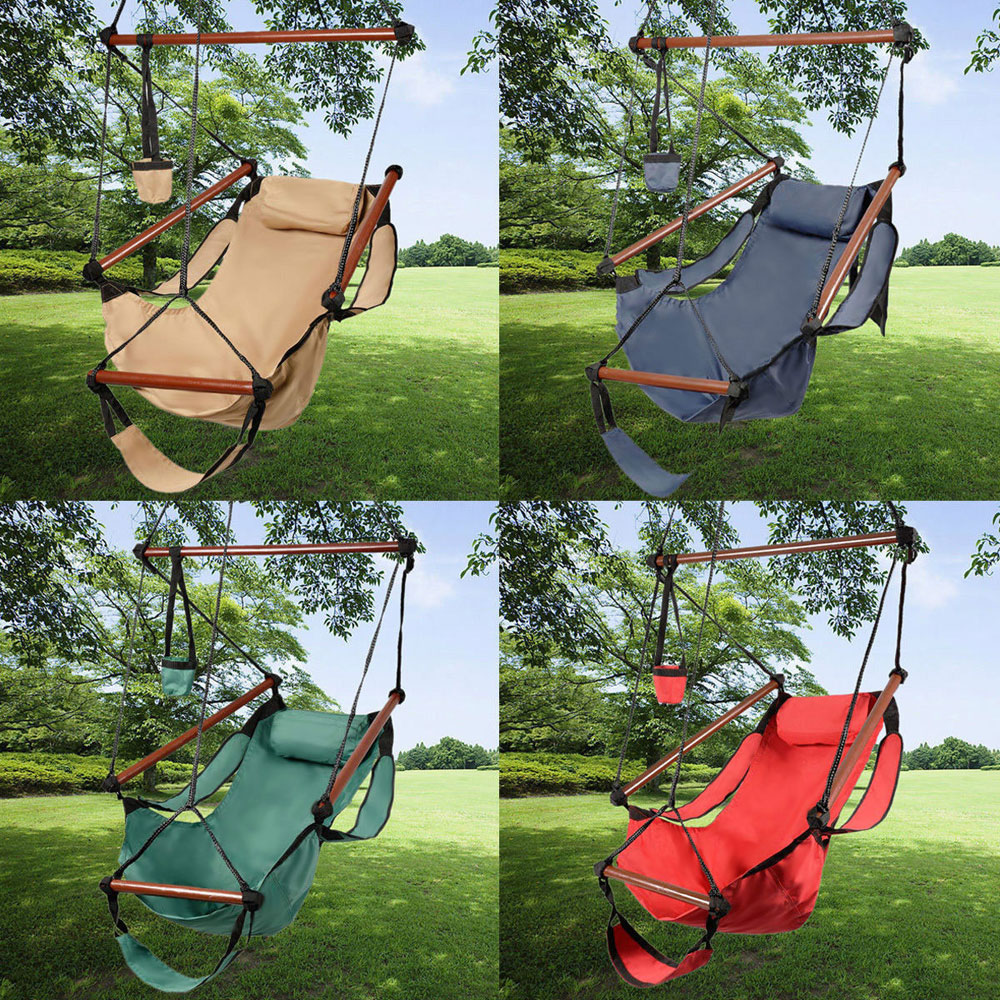 Zimtown Portable Hammock Rope Chair Cacolet Hanging Swing Outdoor Seat Patio Porch Garden Beach Camping Wood w Carrying... by