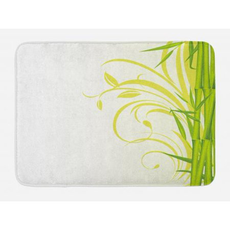 - Green Bath Mat, Bamboo with Artistic Floral Curly Leaves Asian Feng Shui Zen Garden, Non-Slip Plush Mat Bathroom Kitchen Laundry Room Decor, 29.5 X 17.5 Inches, Lime Green Pale Green White, Ambesonne