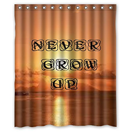 EREHome Never Grow Up Shower Curtain Polyester Fabric Bathroom Decorative Curtain Size 60x72 Inches - image 1 de 1