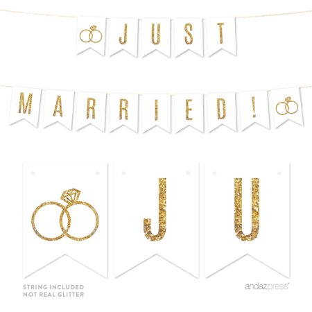 Just Married! Gold Glitter Wedding Pennant Party Banner](Weding Banner)