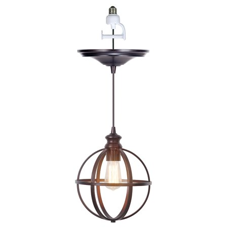 Forged Bronze Three Light Pendant (Instant Pendant Recessed Light Conversion Kit Brushed Bronze Globe Cage Shade )