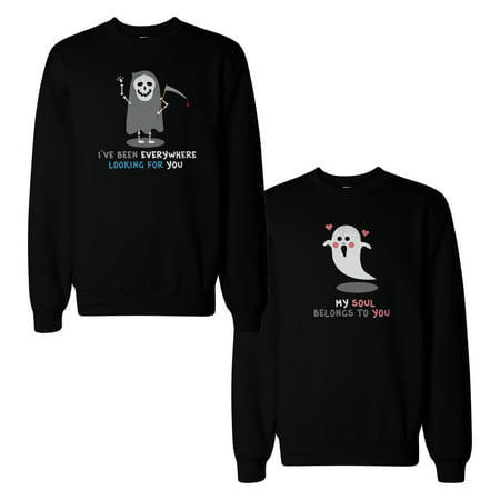 Black Couples Costumes (Death Eater And Ghost Couple Sweatshirts Halloween Matching)