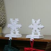 set of 2 white snowflake glittered christmas stocking holder 95