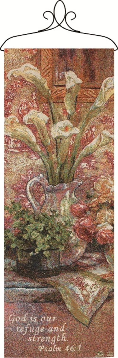 "Lena Liu Calla Lily Bouquet Religious Verse Wall Artwork Hanging Tapestry 13"" x 36.5"" by Manual Weavers"